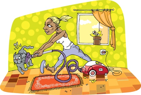 Housewife is cleaning a room with some passion and energy. But the grey cat isn't so lucky during her cleaning.  Vector
