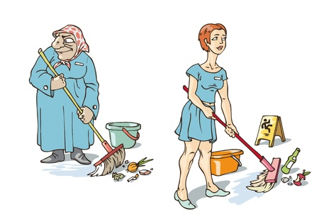 charlady: The young and old maids are doing their hard work. Illustration