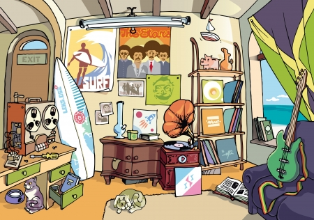 A bit messy room of an ordinary surfer somewhere in some sweet place. There are a lot of stuff in the room.