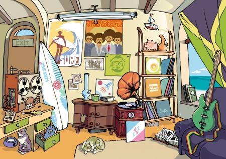 everyday scenes: Una sala po 'confuso di un surfista comune da qualche parte in qualche luogo dolce. Ci sono un sacco di roba in camera.