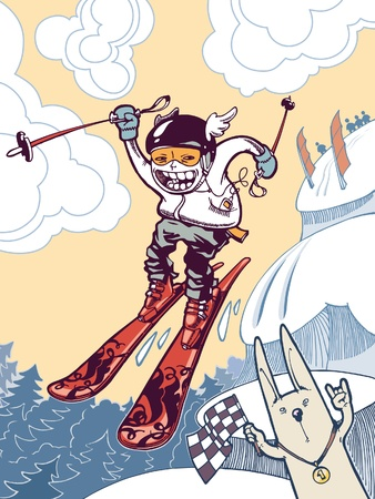 snow track: The newschool skier is sliding down and jumping from the snow cliffs.