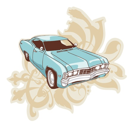1967 Chevrolet Impala Low-rider. The muscle car over the ornament with floral motifs. Vector