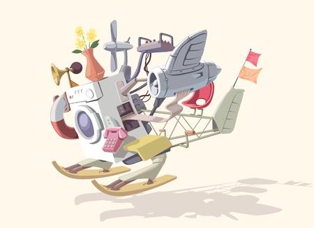 pilotos aviadores: No.2 de dispositivo extraño y loco! Consta de varias partes incompatibles y luce espectacular!   Vectores
