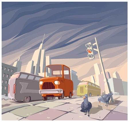 De oranje cartoon vintage auto in het midden van de hoofdstraat in een grote stad. Er zijn twee duiven op een stoep.
