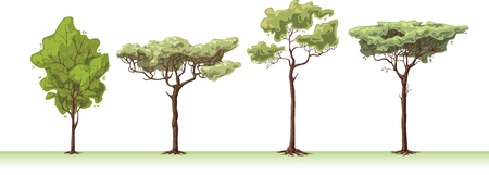 The four great handemade trees.  Stock Vector - 10204343