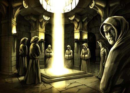 De mystieke ritueel in het donker tempel.
