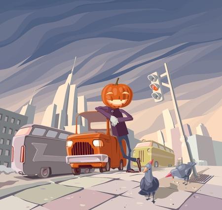 Jack O Lantern and his orange car Stock Vector - 10222441