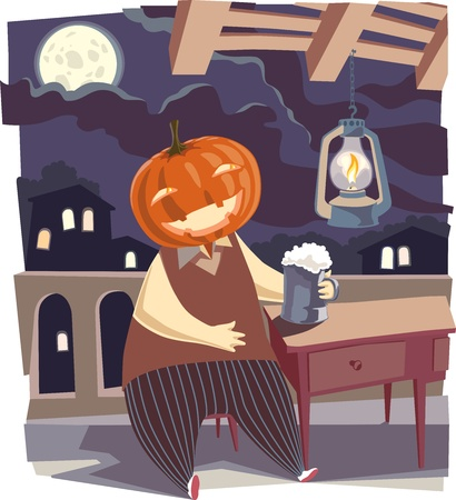 ghost town: It is a moonlight night. A happy Jack O Lantern Illustration