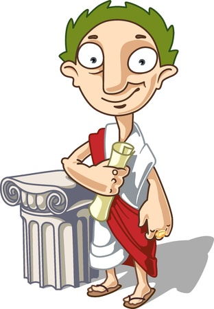 toga: The Antique Emperor is standing near the ionic capital with a manuscript in his hand.