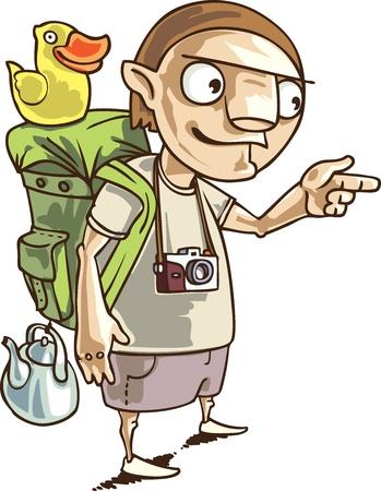 De backpacker met de alle medewerkers die hij nodig heeft in zijn reis. Stock Illustratie