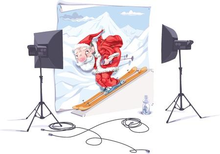 freeride: Santa esquiador es en el estudio fotogr�fico. El fot�grafo es tomar una fotograf�a de �l.