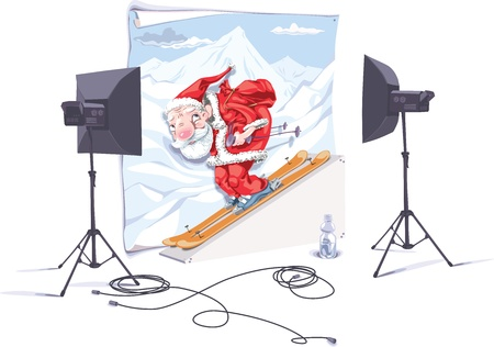 Santa-skier is in the photo studio. The photographer is taking a picture of him.
