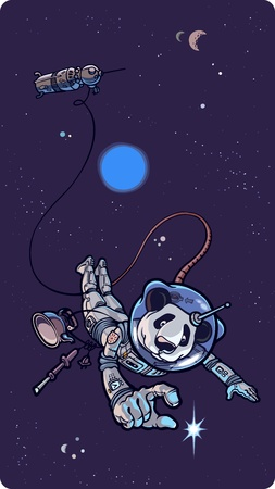 Panda the astronaut is happy to find the small shining star in outer space. Vector