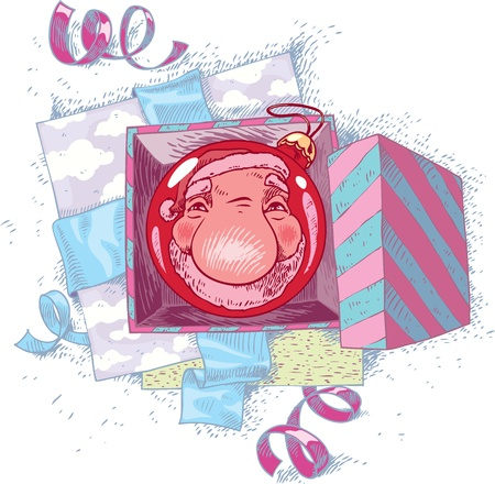 Santa Claus is reflecting in the red Christmas ball.  Vector