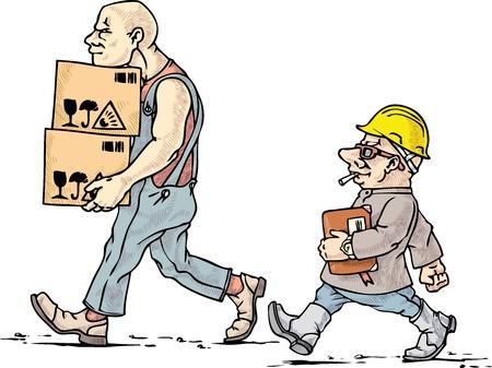 caricatura: El mover y su jefe en su trabajo.