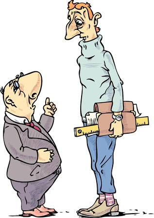 The small boss is preaching to the tall engineer.