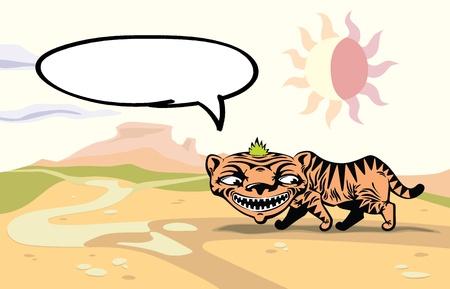 montañas caricatura: Andar hablando de Tigre.