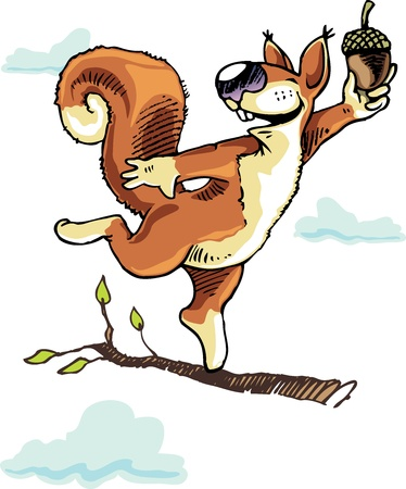 windfall: Happy squirrel dancing on the tree branch with the acorn.