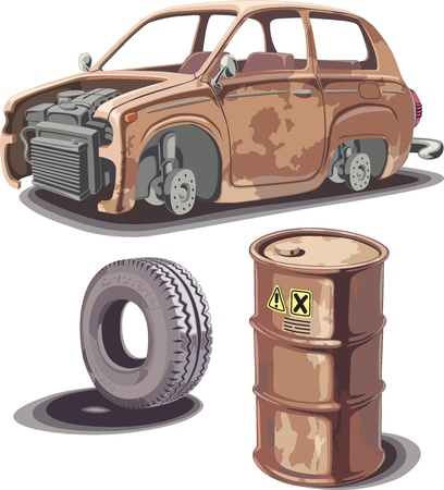 axles: Old broken rusty car, rusty oil barrel and used obsolete tire with a dirty stains...