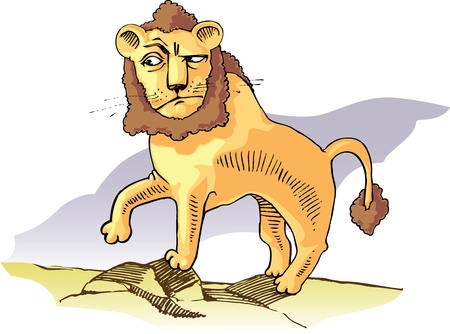 intrigue: Surprised lion standing on the stones.  Illustration