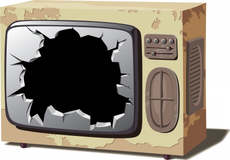 broken screen: Retro TV set with a broken screen.