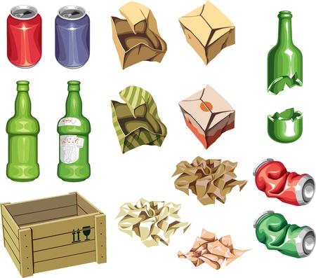 Il pacchetto spazzatura pronto al riciclaggio. Vettoriali