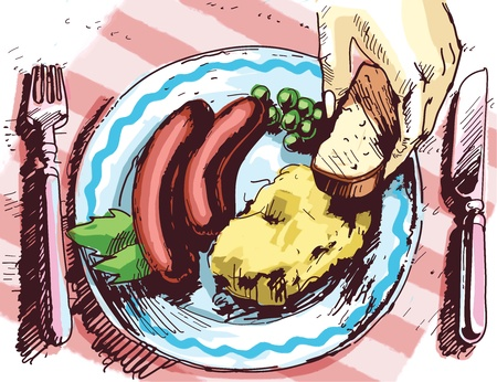 everyday scenes: There are two sausages, some potato mash and the peace of a bread on the plate.