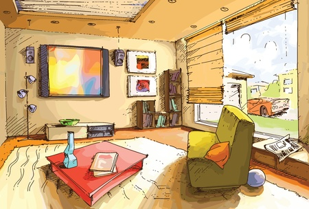 The light and empty interior of a living room in a bright sunny day.