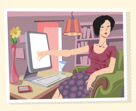 Woman is browsing the Internet or searching something on her local drives (I really don't know ;))