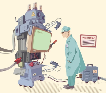 The scientist is looking on the error message of the giant robot's operating system.