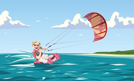 One of the greatest things in the world - kitesurfing. Stock Vector - 10222455
