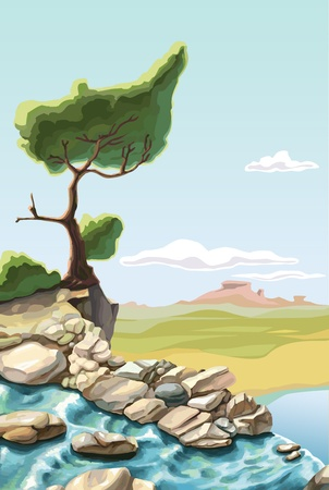 The waterfall and the lonley green tree on the brink of a precipice.  Vector