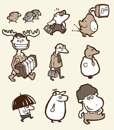 happy sad: Il set di un divertente creature. Essi sono tutti diversi: stupido, felice, triste, confuso, ecc.