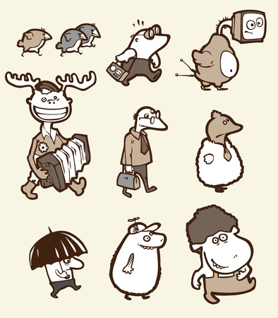 The set of a funny creatures. They are all different: stupid, happy, sad, confused etc.  Vector