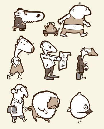 originalidad: El conjunto de un curioso criaturas. Son todos diferentes: est�pido, feliz, triste, etc. confundido.