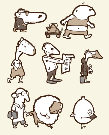 The set of a funny creatures. They are all different: stupid, happy, sad, confused etc.