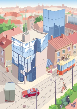 reflection of life: Contrast architectural styles and city life of an old European city nowadays.  Illustration