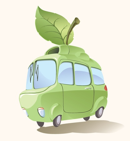 bio fuel: Ecologically clean and environmentally friendly retro-styled imaginary small car.  Illustration