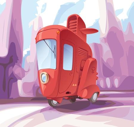 Concept of a retro-styled three-wheeled small city car. Illustration