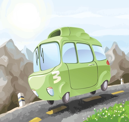 strange: A small retro-styled car having a dangerous trip on the mountain road.  Illustration