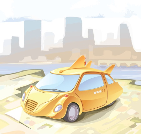 standing out: Concept of a retro-styled city car. A funky futuristic cab?  Illustration