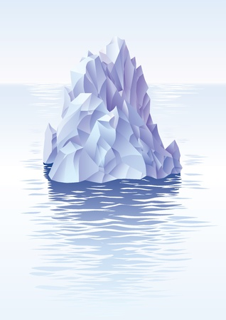 submerged: Lonley iceberg in the cold sea.  Illustration