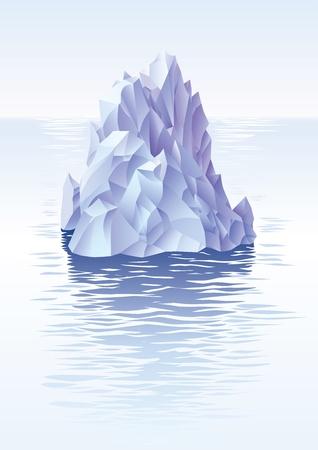 Lonley ijsberg in de koude zee.