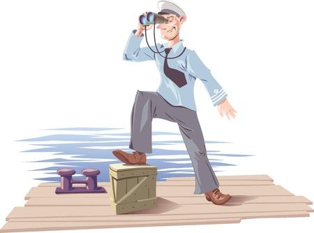 De kapitein is staande op het dek of de ligplaats en kijken naar de skyline.  Stock Illustratie