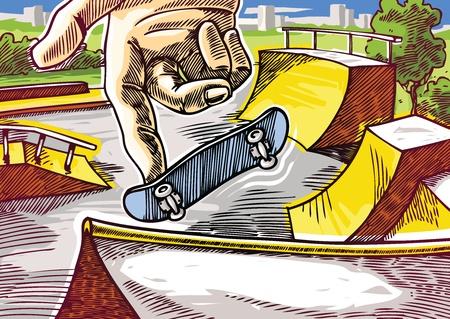 skatepark: Finger skateboarding. 360