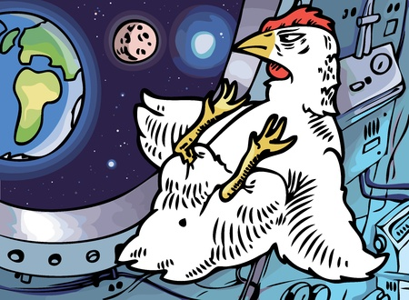 The lone brave chicken in a cabin of a space ship is looking at his home planet.  Vector