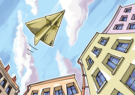 The paper plane is flying over the city.  Stock Vector - 10222443