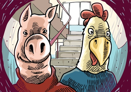 peephole: The suspicious visitors - the pig and the chicken, - are standing behind the front door.   Illustration