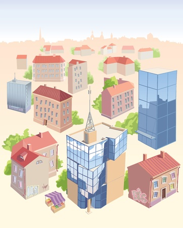 Set of the old and new city buildings. It Vector