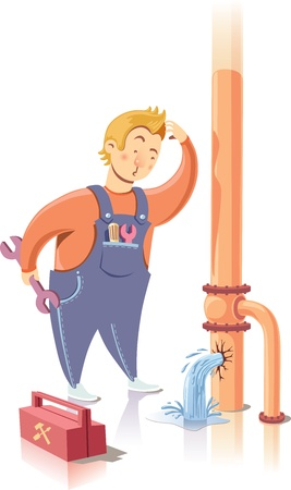 Repairman is embarrassed while looking at the waterpipe. It looks like he is a beginner at the plumbing service.  Illustration